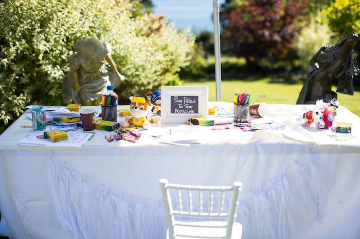 Paw Patrol activity table from a Chic Paw Patrol Pool Birthday Party on Kara's Party Ideas | KarasPartyIdeas.com (22)