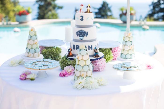 Cake + dessert table from a Chic Paw Patrol Pool Birthday Party on Kara's Party Ideas | KarasPartyIdeas.com (21)