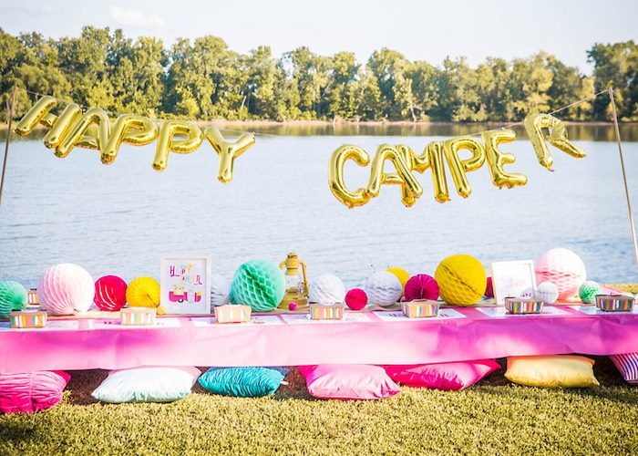 Party table from a Colorful Camping Glamping Birthday Party on Kara's Party Ideas   KarasPartyIdeas.com (45)