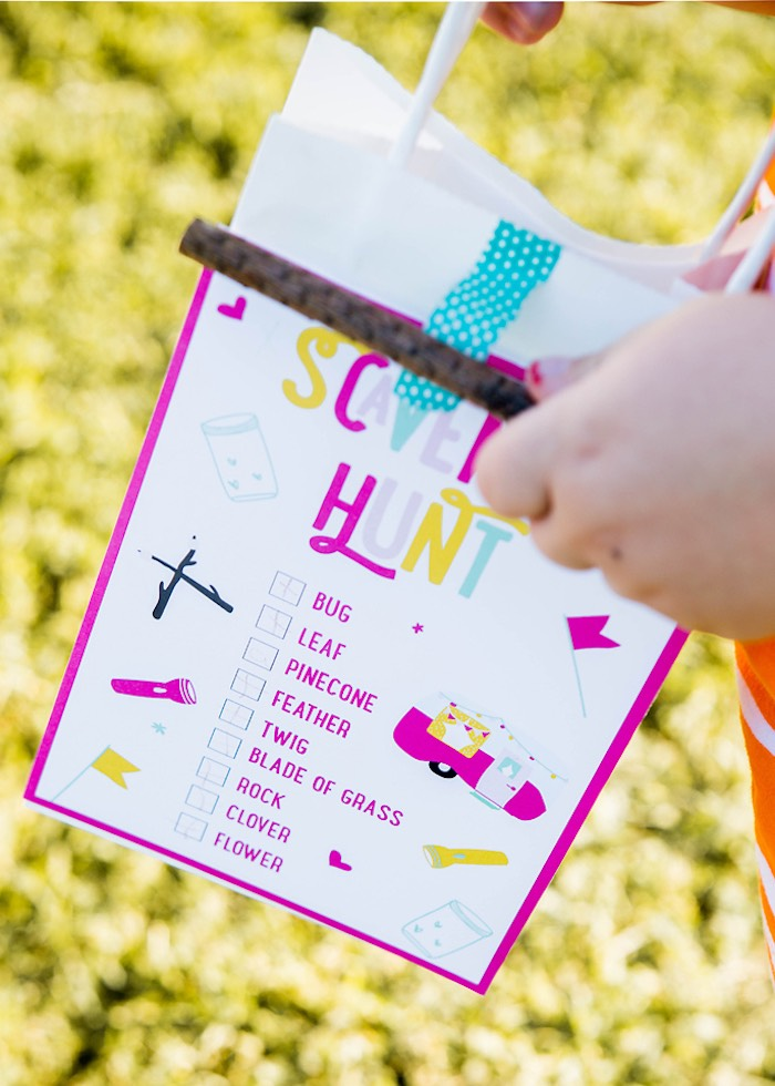 Scavenger hunt print from a Colorful Camping Glamping Birthday Party on Kara's Party Ideas | KarasPartyIdeas.com (44)