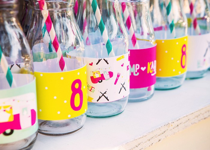 Drink bottles from a Colorful Camping Glamping Birthday Party on Kara's Party Ideas   KarasPartyIdeas.com (43)