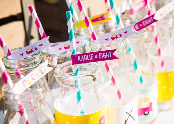 Drink bottles from a Colorful Camping Glamping Birthday Party on Kara's Party Ideas   KarasPartyIdeas.com (42)