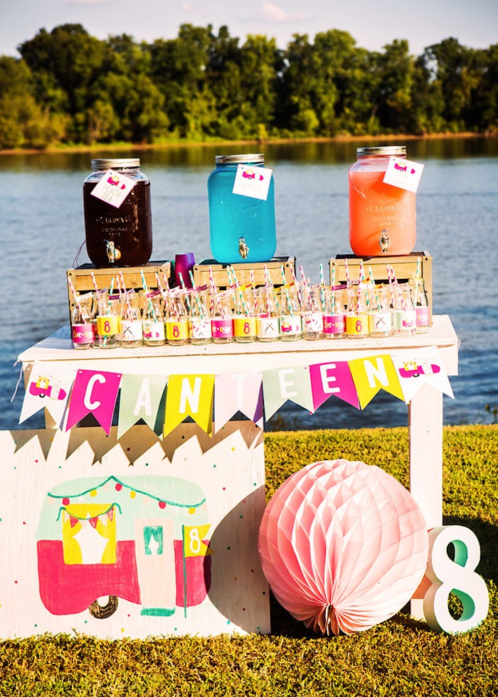Drink table from a Colorful Camping Glamping Birthday Party on Kara's Party Ideas   KarasPartyIdeas.com (41)