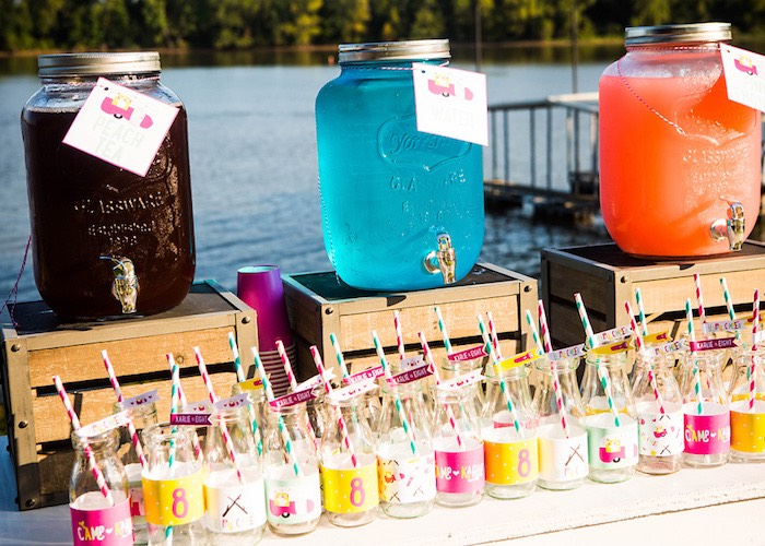 Beverage dispensers + drink bottles from a Colorful Camping Glamping Birthday Party on Kara's Party Ideas   KarasPartyIdeas.com (40)