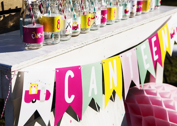 Party banner from a Colorful Camping Glamping Birthday Party on Kara's Party Ideas | KarasPartyIdeas.com (56)