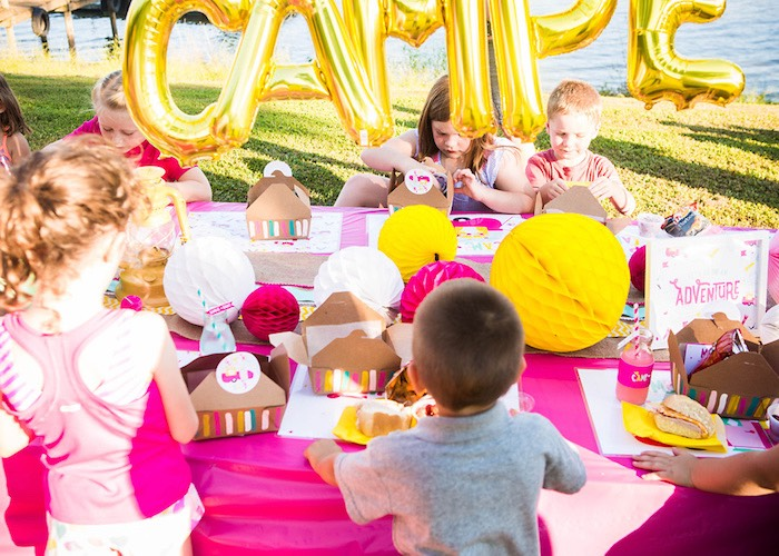 Party table from a Colorful Camping Glamping Birthday Party on Kara's Party Ideas   KarasPartyIdeas.com (37)
