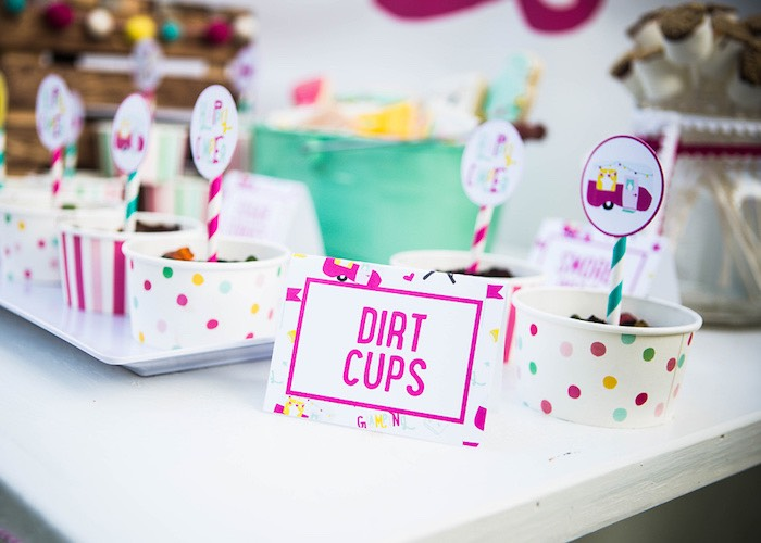 Dirt/pudding cups from a Colorful Camping Glamping Birthday Party on Kara's Party Ideas | KarasPartyIdeas.com (33)