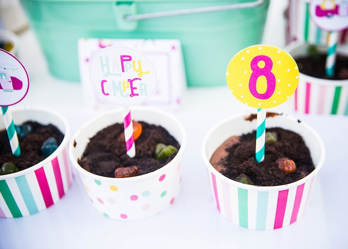 Dirt pudding cups from a Colorful Camping Glamping Birthday Party on Kara's Party Ideas   KarasPartyIdeas.com (32)