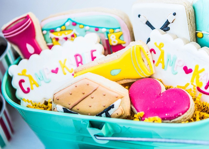 Custom sugar cookies from a Colorful Camping Glamping Birthday Party on Kara's Party Ideas | KarasPartyIdeas.com (31)