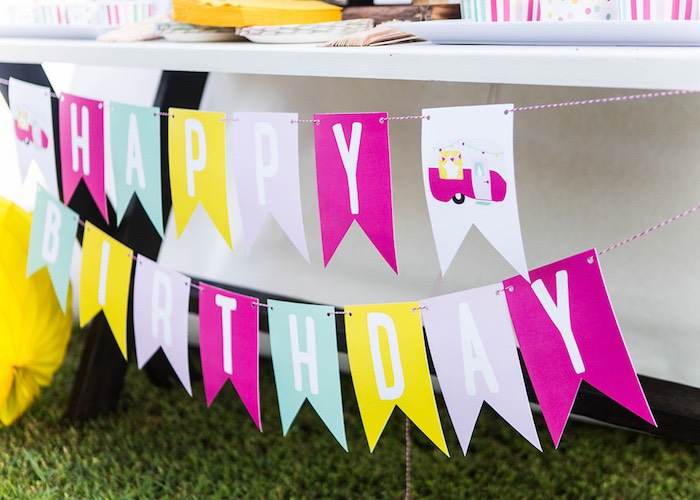 Banner from a Colorful Camping Glamping Birthday Party on Kara's Party Ideas   KarasPartyIdeas.com (30)