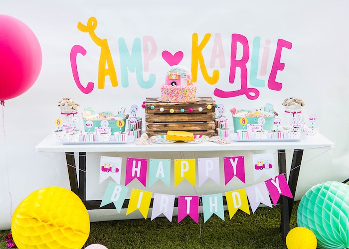 Cake & sweet table from a Colorful Camping Glamping Birthday Party on Kara's Party Ideas | KarasPartyIdeas.com (28)