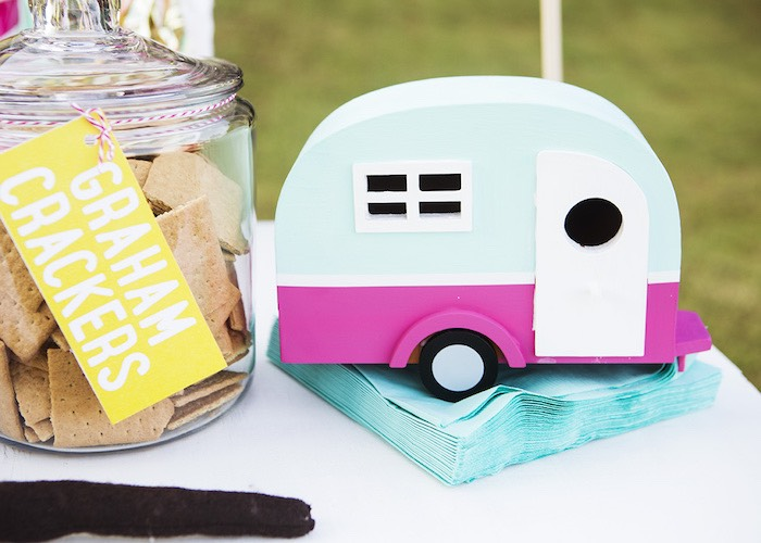 Camper weight & napkins from a Colorful Camping Glamping Birthday Party on Kara's Party Ideas | KarasPartyIdeas.com (55)