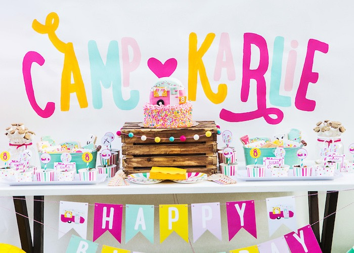 Sweet table from a Colorful Camping Glamping Birthday Party on Kara's Party Ideas | KarasPartyIdeas.com (27)