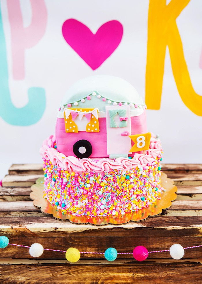 Girly camper cake from a Colorful Camping Glamping Birthday Party on Kara's Party Ideas   KarasPartyIdeas.com (26)