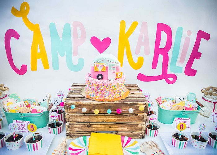 Cakescape from a Colorful Camping Glamping Birthday Party on Kara's Party Ideas | KarasPartyIdeas.com (25)