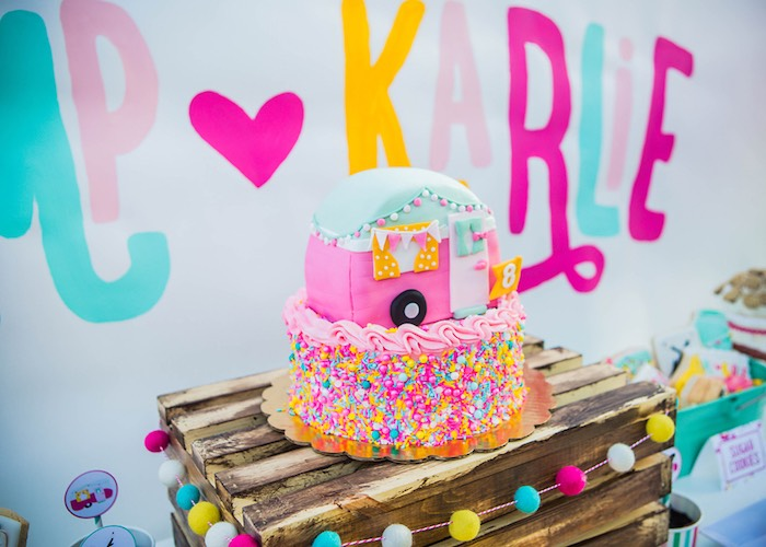 Cake from a Colorful Camping Glamping Birthday Party on Kara's Party Ideas | KarasPartyIdeas.com (24)