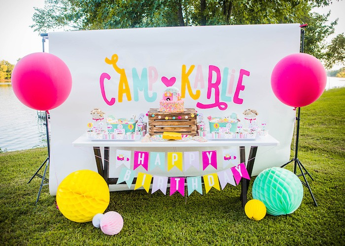Dessert table from a Colorful Camping Glamping Birthday Party on Kara's Party Ideas | KarasPartyIdeas.com (22)
