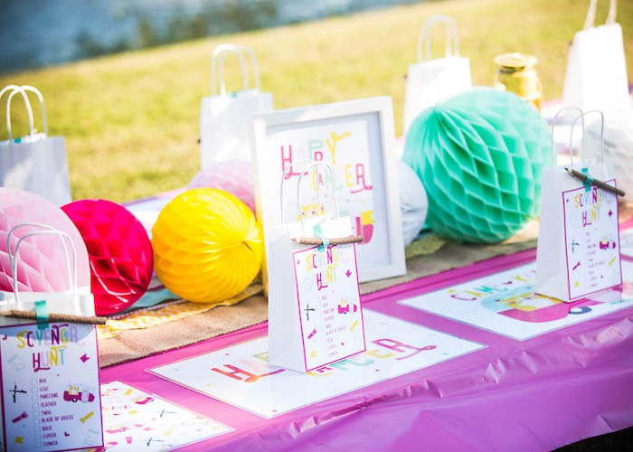 Party table from a Colorful Camping Glamping Birthday Party on Kara's Party Ideas | KarasPartyIdeas.com (54)