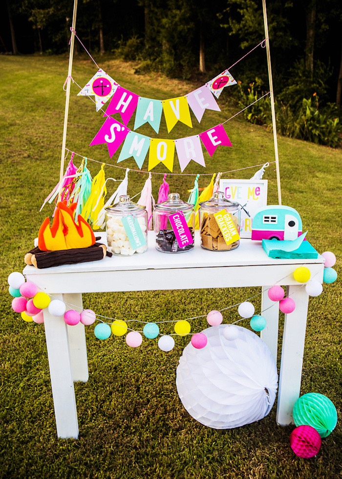"""""""Have S'more"""" s'more bar from a Colorful Camping Glamping Birthday Party on Kara's Party Ideas   KarasPartyIdeas.com (17)"""