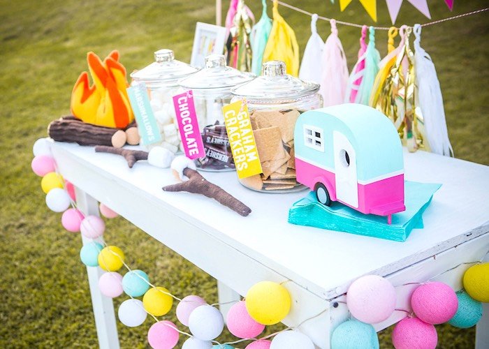 S'more Bar from a Colorful Camping Glamping Birthday Party on Kara's Party Ideas | KarasPartyIdeas.com (15)