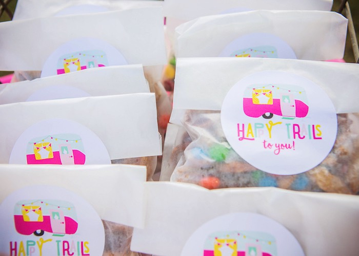 Trail mix favor bags from a Colorful Camping Glamping Birthday Party on Kara's Party Ideas | KarasPartyIdeas.com (13)