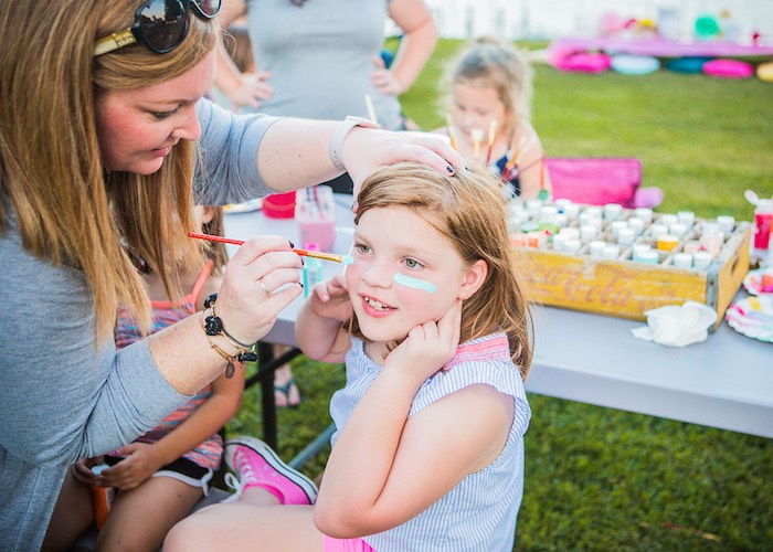Face painting from a Colorful Camping Glamping Birthday Party on Kara's Party Ideas | KarasPartyIdeas.com (10)