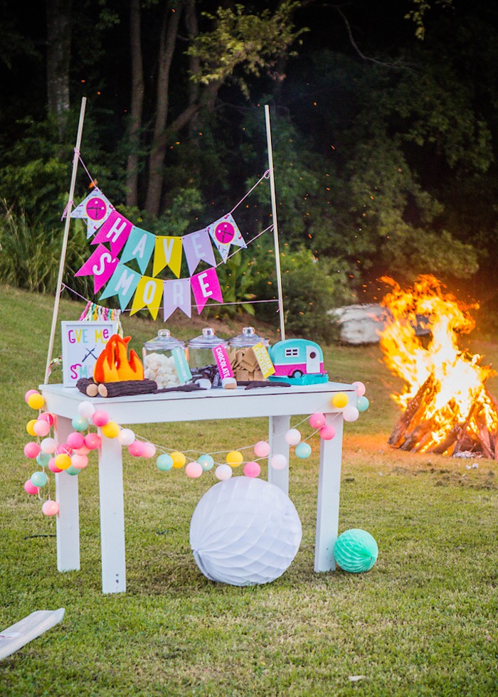 S'mores bar & fire from a Colorful Camping Glamping Birthday Party on Kara's Party Ideas | KarasPartyIdeas.com (9)