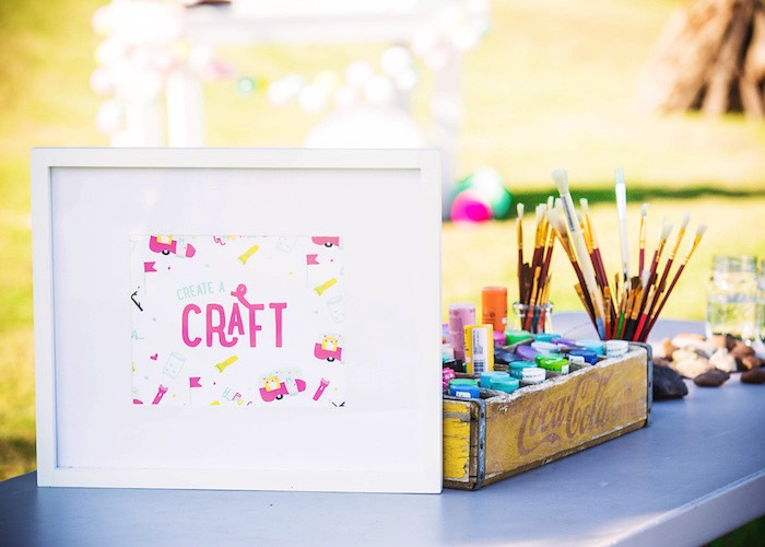 Craft table from a Colorful Camping Glamping Birthday Party on Kara's Party Ideas | KarasPartyIdeas.com (53)