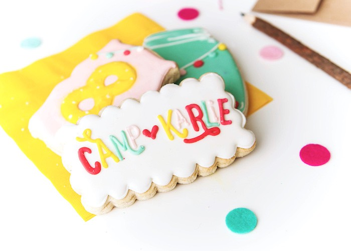 Cookies from a Colorful Camping Glamping Birthday Party on Kara's Party Ideas | KarasPartyIdeas.com (5)