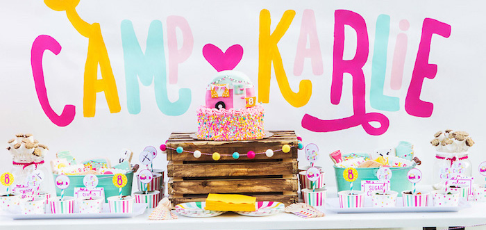 Colorful Camping Glamping Birthday Party on Kara's Party Ideas | KarasPartyIdeas.com (1)
