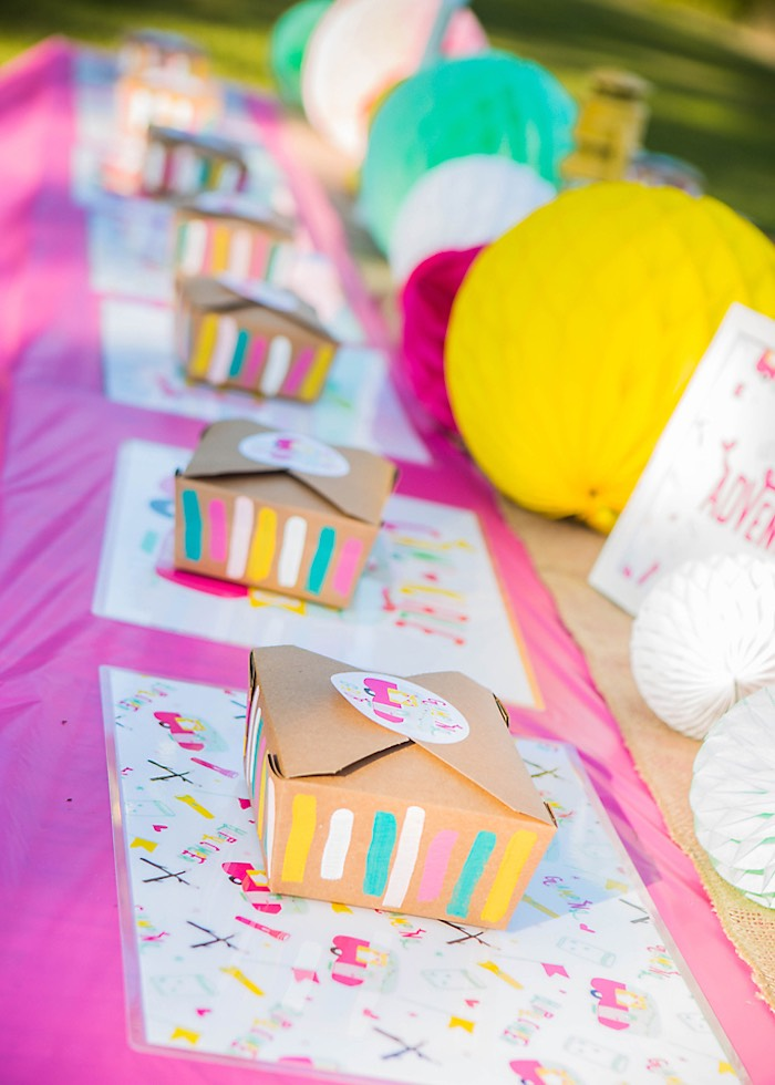 Guest tablescape + place settings from a Colorful Camping Glamping Birthday Party on Kara's Party Ideas | KarasPartyIdeas.com (48)