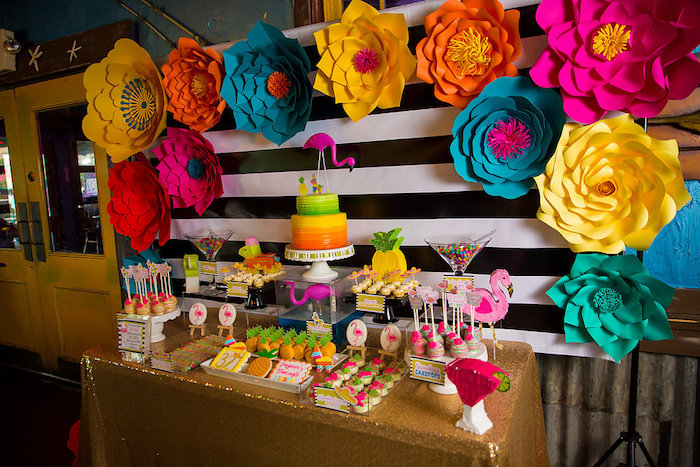 Dessert table from a Colorful Flamingle Fiesta via Kara's Party Ideas | KarasPartyIdeas.com (31)