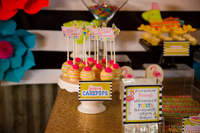 Cake pops from a Colorful Flamingle Fiesta via Kara's Party Ideas | KarasPartyIdeas.com (28)