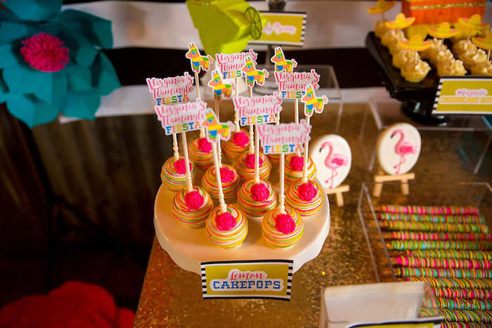 Lemon cake pops from a Colorful Flamingle Fiesta via Kara's Party Ideas | KarasPartyIdeas.com (27)