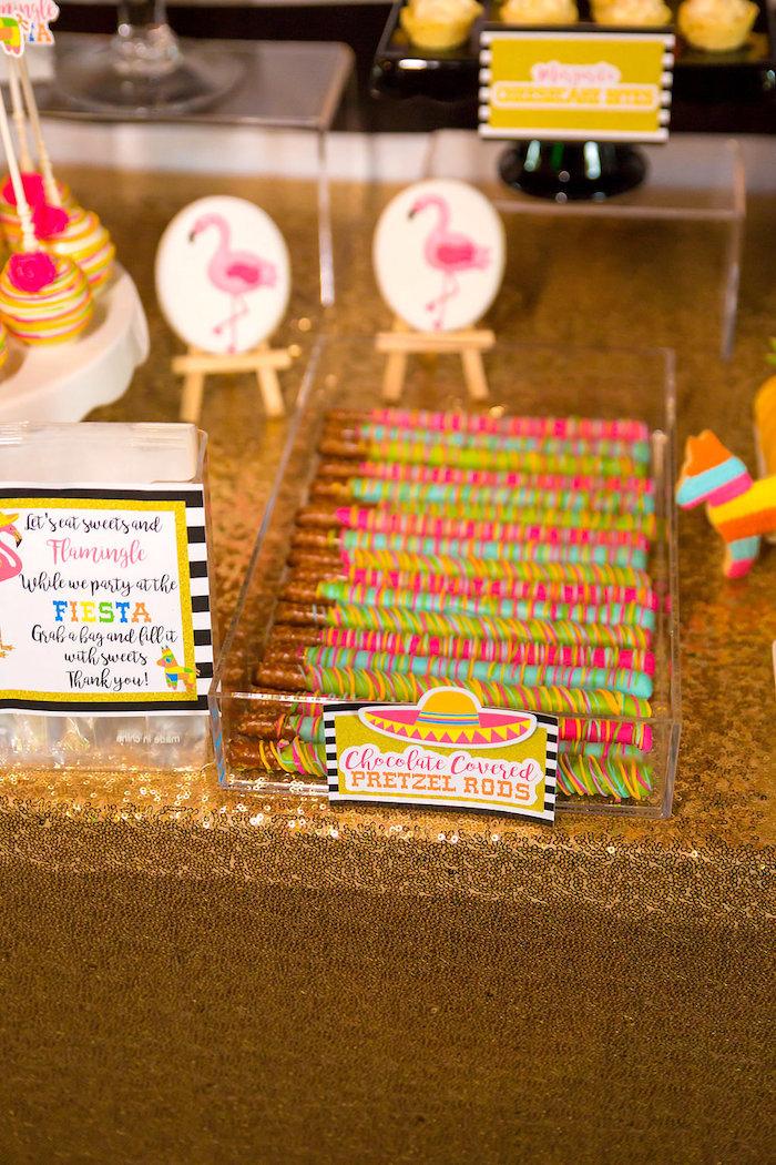 Chocolate covered pretzel rods from a Flamingle Fiesta via Kara's Party Ideas | KarasPartyIdeas.com (26)