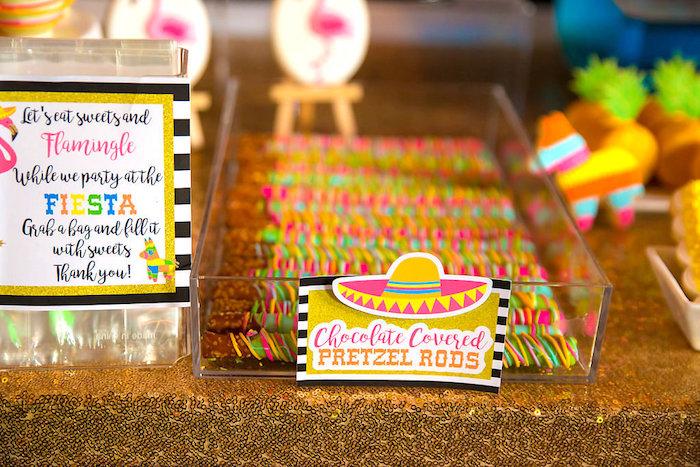 Chocolate covered pretzel rods from a Colorful Flamingle Fiesta via Kara's Party Ideas | KarasPartyIdeas.com (25)