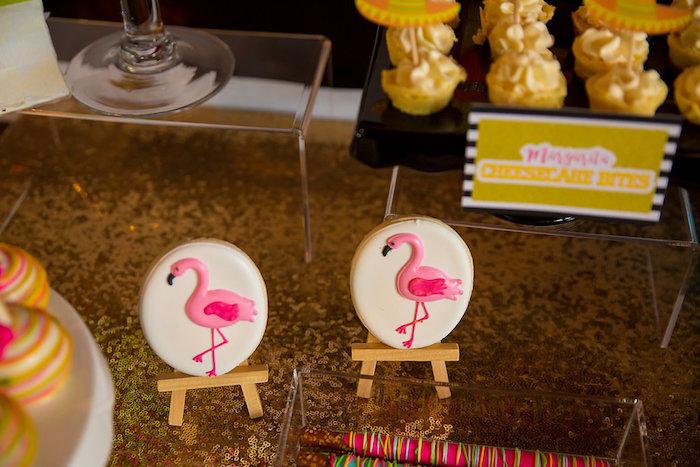 Flamingo cookies on easels from a Colorful Flamingle Fiesta via Kara's Party Ideas | KarasPartyIdeas.com (24)