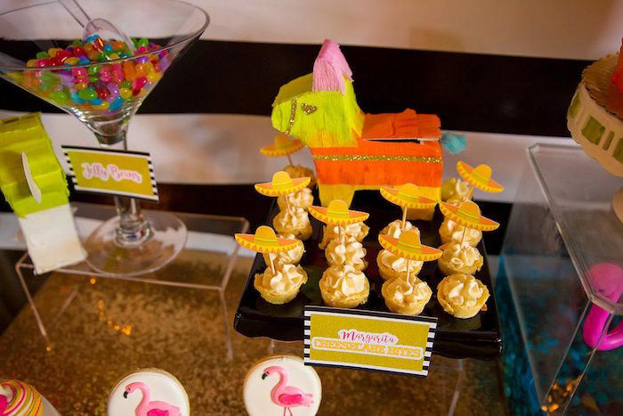 Cheesecake bites from a Colorful Flamingle Fiesta via Kara's Party Ideas | KarasPartyIdeas.com (22)