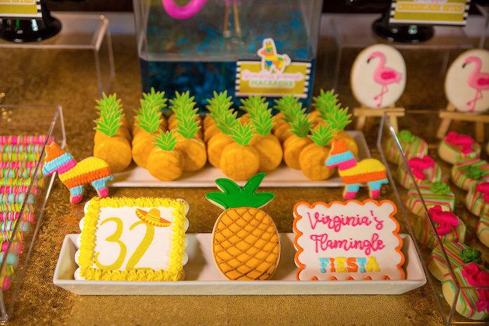 Cookies + pineapple macarons from a Colorful Flamingle Fiesta via Kara's Party Ideas | KarasPartyIdeas.com (19)