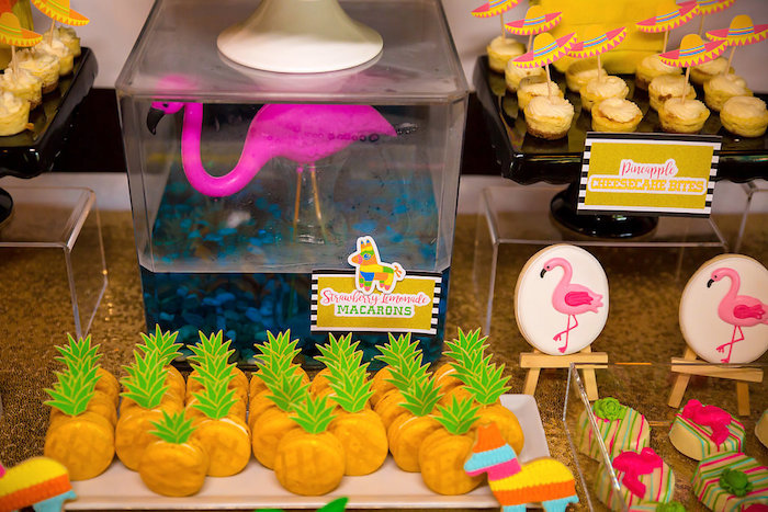 Pineapple macarons from a Colorful Flamingle Fiesta via Kara's Party Ideas | KarasPartyIdeas.com (18)