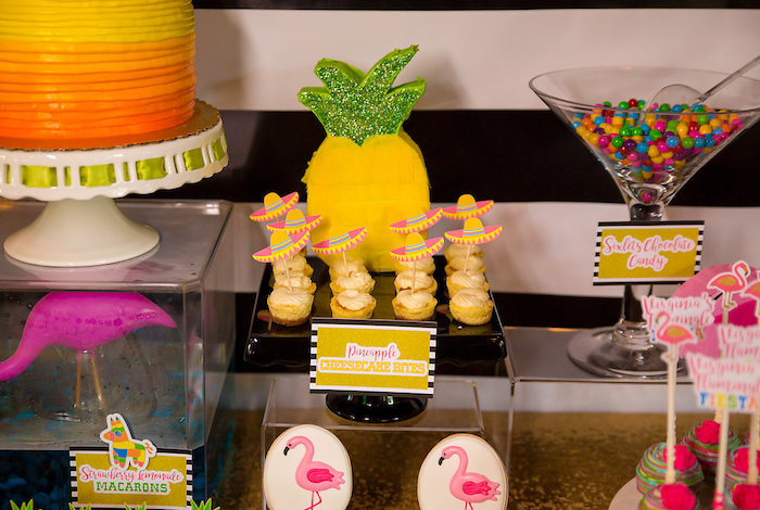 Pineapple piñata + sweets from a Colorful Flamingle Fiesta via Kara's Party Ideas | KarasPartyIdeas.com (14)