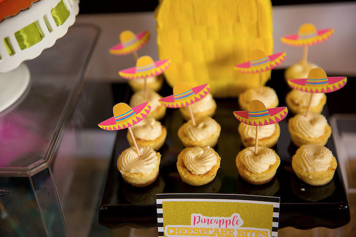 Pineapple cheesecake bites with sombrero picks from a Colorful Flamingle Fiesta via Kara's Party Ideas | KarasPartyIdeas.com (13)