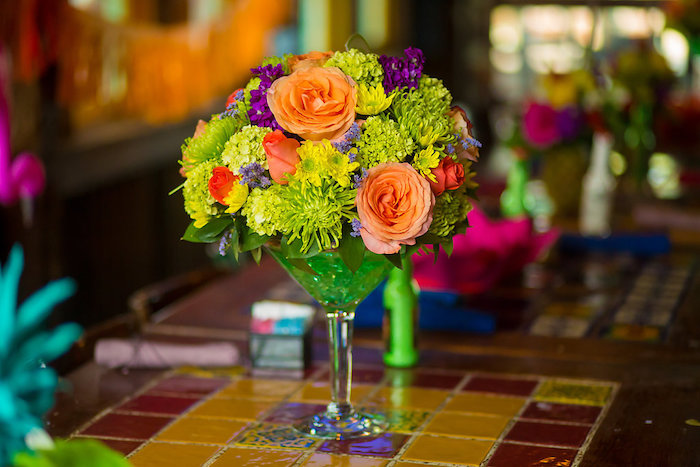 Flower centerpiece from a Floral centerpiece placed in a martini vase from a Colorful Flamingle Fiesta via Kara's Party Ideas | KarasPartyIdeas.com (40)