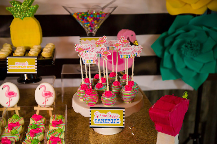 Cake pops from a Colorful Flamingle Fiesta via Kara's Party Ideas | KarasPartyIdeas.com (12)