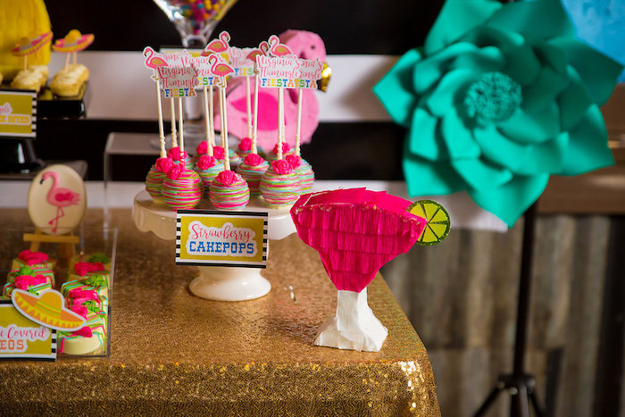 Mini margarita piñata + strawberry cake pops from a Colorful Flamingle Fiesta via Kara's Party Ideas | KarasPartyIdeas.com (11)