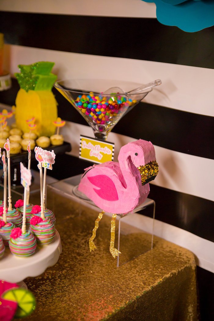 Sixlets placed in a martini vase from a Colorful Flamingle Fiesta via Kara's Party Ideas | KarasPartyIdeas.com (10)