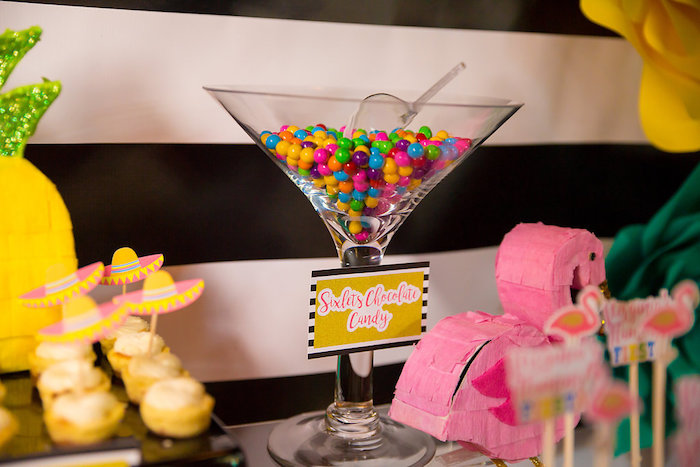 Sixlets placed in a martini vase from a Colorful Flamingle Fiesta via Kara's Party Ideas | KarasPartyIdeas.com (9)