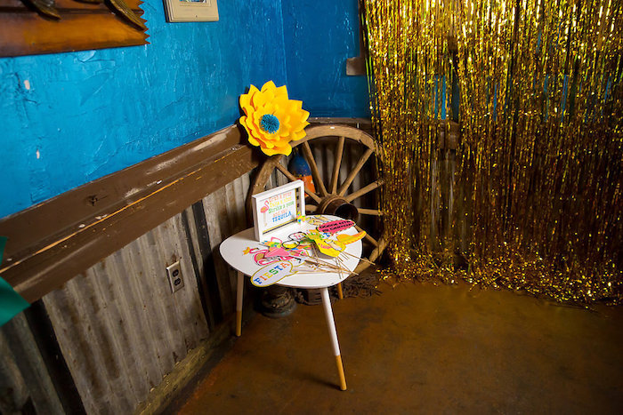 Photo booth prop table from a Colorful Flamingle Fiesta via Kara's Party Ideas | KarasPartyIdeas.com (7)