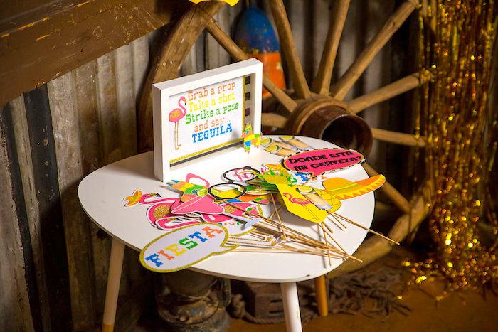 Photo booth props from a Colorful Flamingle Fiesta via Kara's Party Ideas | KarasPartyIdeas.com (6)