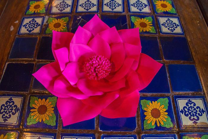 Flower decoration from a Colorful Flamingle Fiesta via Kara's Party Ideas | KarasPartyIdeas.com (39)